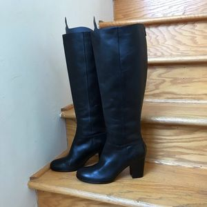 Cole Haan Black Tall Leather boots back zipper